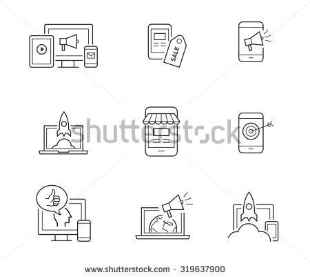 Digital marketing icons for websites, mobile apps, startups - stock vector