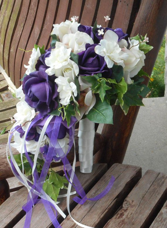 Purple and White Real Touch Rose Cascading Silk Bridal by mtfloral