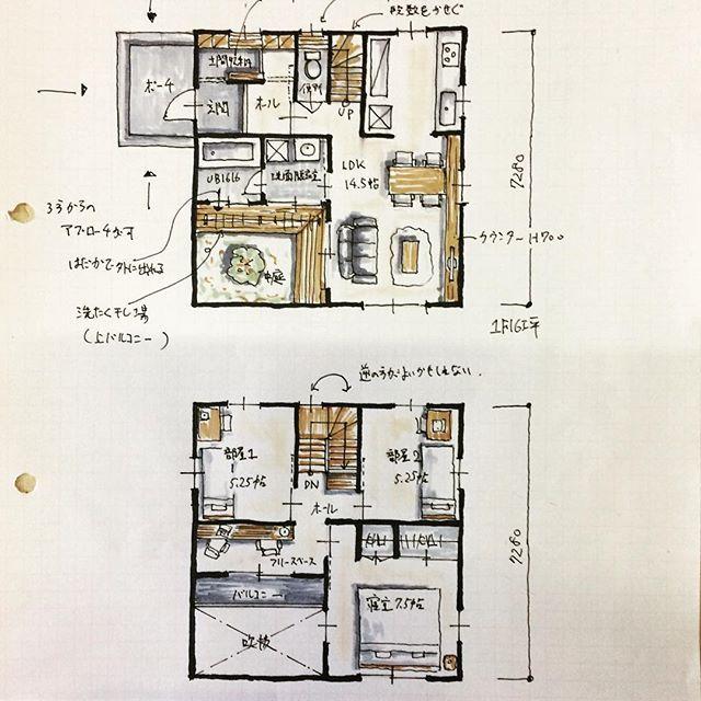 『32坪中庭のある間取り』3ldk、シューズクローク、フリースペース付きです。 #家を建てよう #間取り#32坪の間取り#中庭付きの間取り#土間収納#シューズクローク#家つくり#家づくり計画 #はじめての家づくり #コストパフォーマンス#間取り図大好き #間取り図 #間取り萌え #箱型の家#四角い間取り#三重県#japanese#floorplan - atelierorb