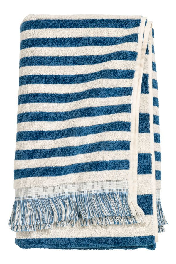 Striped Bath Towel Blue White Striped H M Home H M Us Blue