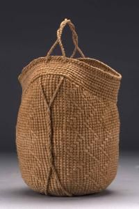 """Jennifer Zurich   """"Untitled""""  Willow bark; plain and twill twined body with wrap twined border; spun bark cordage"""
