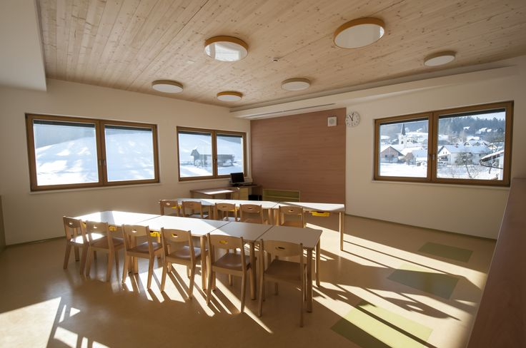 Classroom of Vrhpolje Primary School, which was opened in January 2015 and meets the strict Passive House regulations. Some great scenic panoramas can be seen through school's windows.