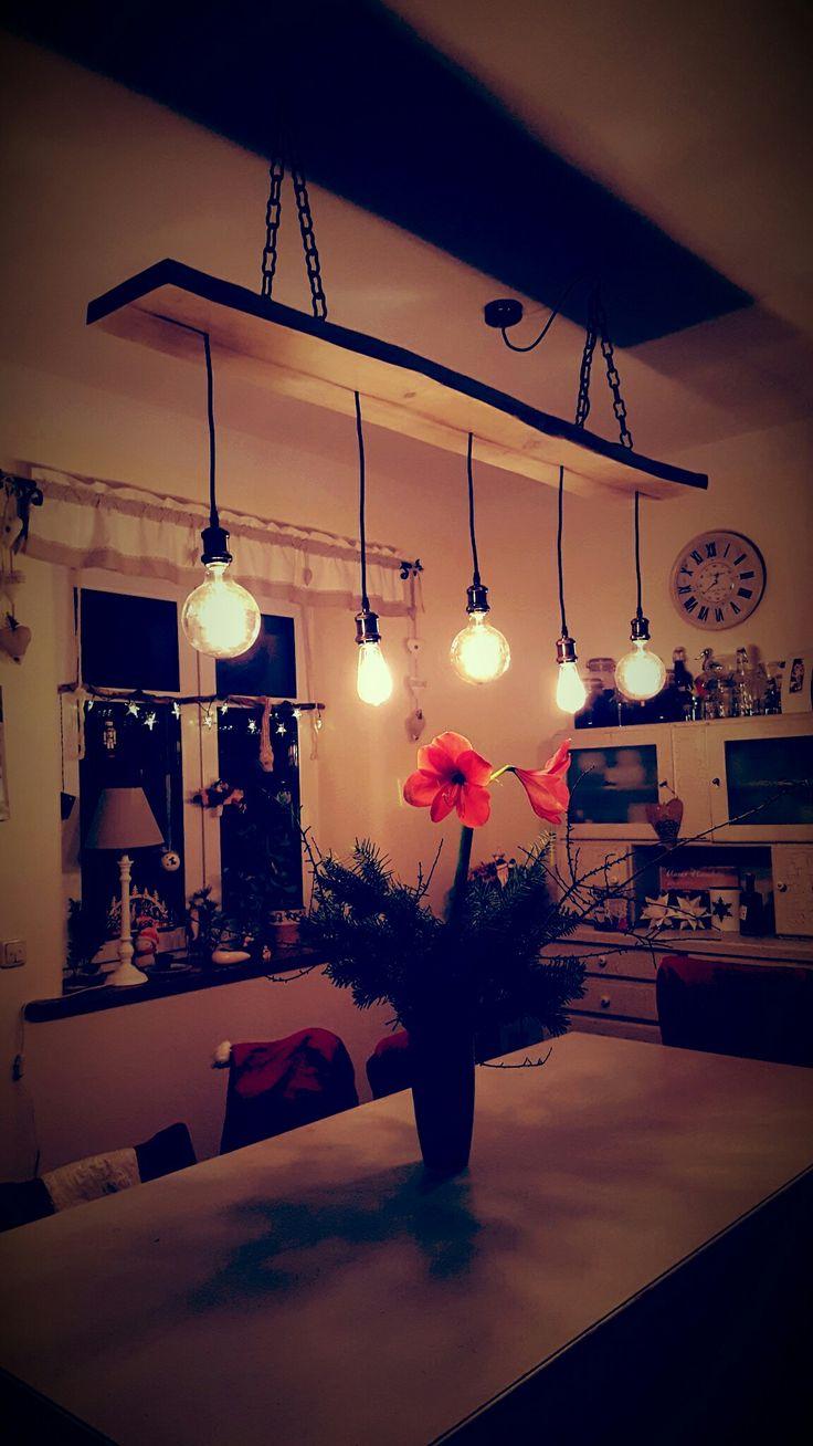 Lampe für den Esstisch selbst gebaut aus altem Br…