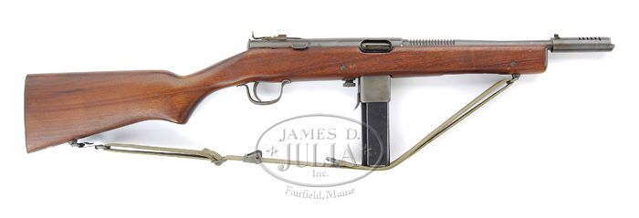 The Reising Submachine Gun  Characteristics  Weight– 6.5 pounds Maximum effective range– 300 yards Cyclic rate– 450 rounds per minutes Method of loading– 12 and 20 round magazine Ammunition– .45 ACP round Muzzle velocity– 900 feet per second  The Reising SMG was an air-cooled, delayed blowback, magazine fed, shoulder weapon