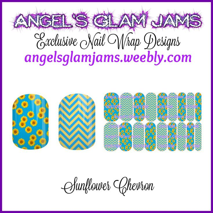 Sunflower Chevron Jamberry Nail Wraps by Angel's Glam Jams  ORDER HERE: http://angelsglamjams.weebly.com/sunflower-chevron.html  #sunflowers #chevron #jamberry #nas #nailwraps #nailartstudio #nailart #instantdownload