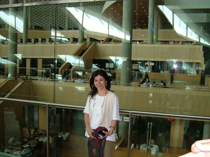 Visiting the reconstructed Library of Alexandria on 2004.