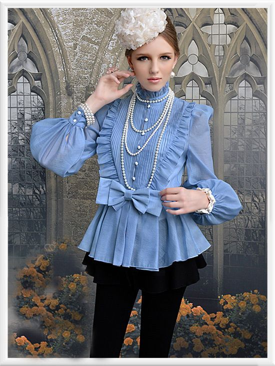 Morpheus Boutique  - Blue High Collar Shoulder Princess Long Sleeve Bow Ruffle Shirt , $55.99 (http://www.morpheusboutique.com/blue-high-collar-shoulder-princess-long-sleeve-bow-ruffle-shirt/)