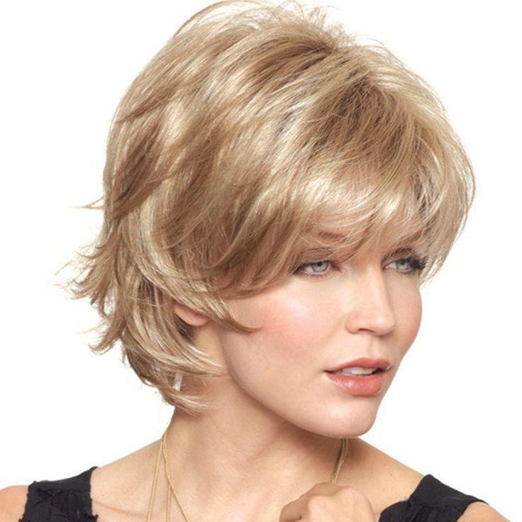 2015 Yeni Kadınlar Güzel kısa Doğal Kıvırcık peruk Şık bayan Sarışın sentetik saç peruk Ücretsiz Kargo