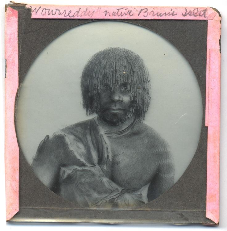 Lantern slide of Tasmanian aboriginal man Woureddy, native of Bruni [Bruny] Island. Prepared by J.W. Beattie (1859-1930)