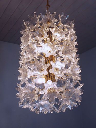 L Murano Glass Flower Sputnik Chandelier By Venini For Veart Italy 60 S