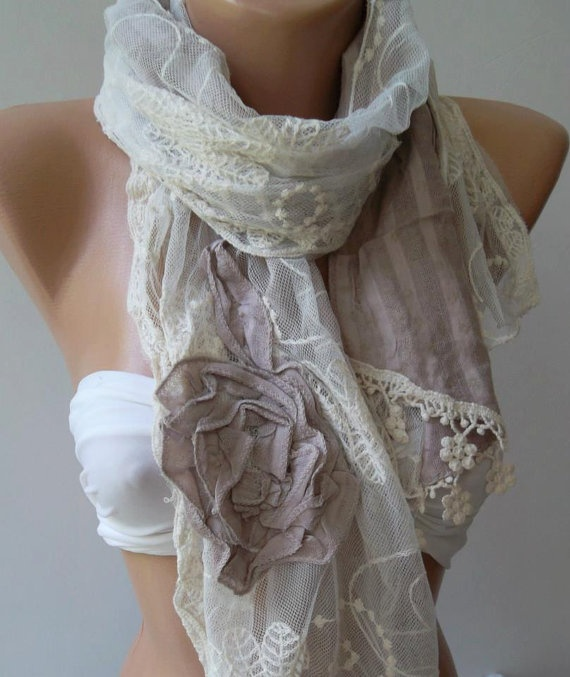 Elegance Shawl  Scarf with Lace Edge by womann on Etsy, $19.90