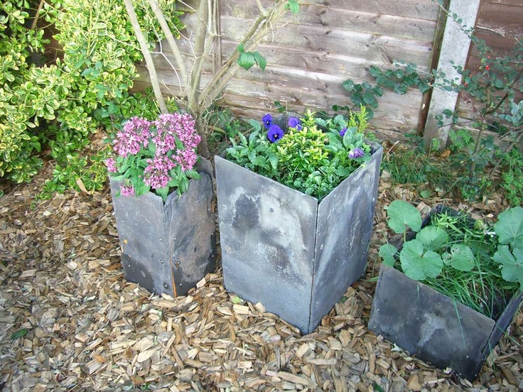 planters from old slate roof tiles