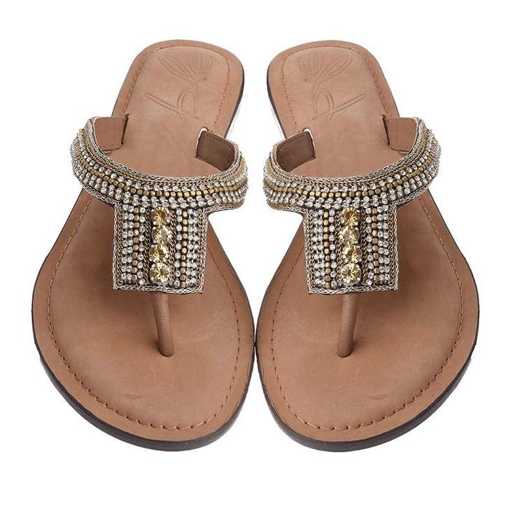 LEATHER SANDAL-GOLD COLOR - Sandals