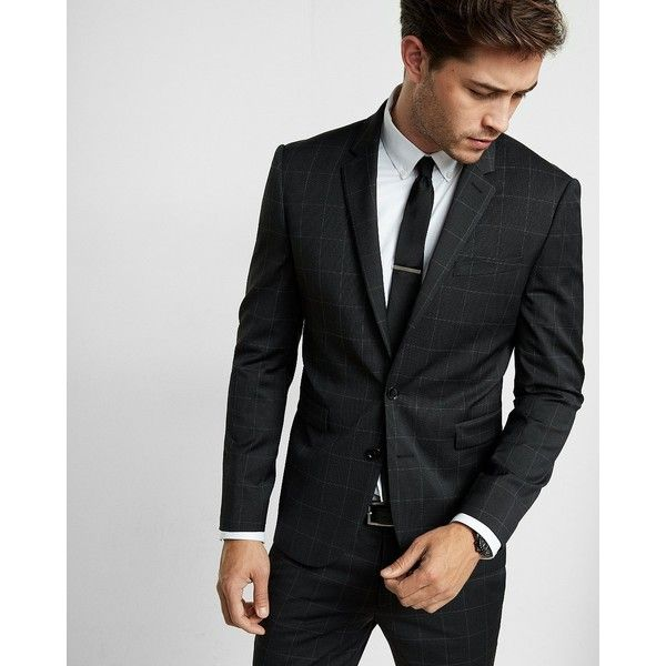 Express Skinny Innovator Black Windowpane Wool Blend Suit Jacket (445 AUD) ❤ liked on Polyvore featuring men's fashion, men's clothing, men's suits, black, express mens clothing, mens skinny suits, express mens suits, mens skinny fit suits and mens suits