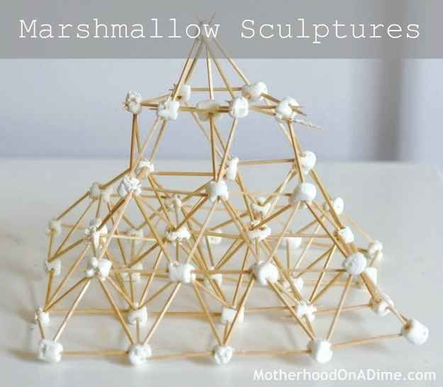 Build a marshmallow sculpture.