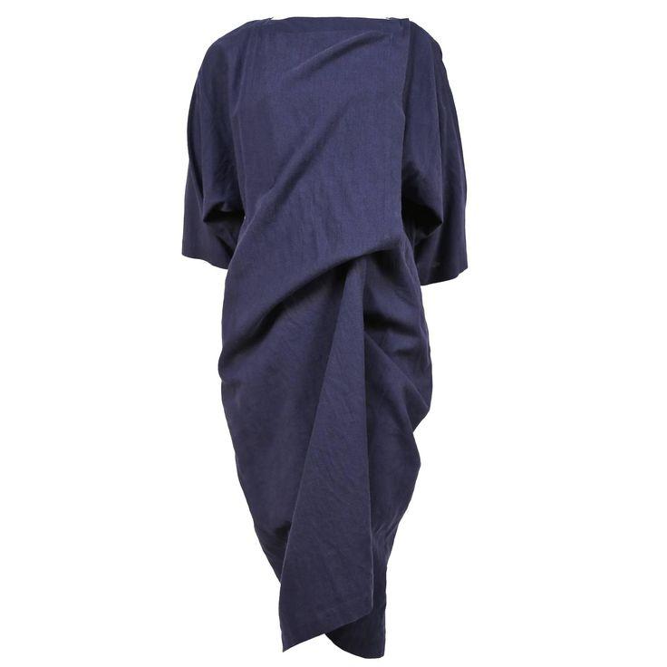 1980's ISSEY MIYAKE indigo cotton draped long jacket