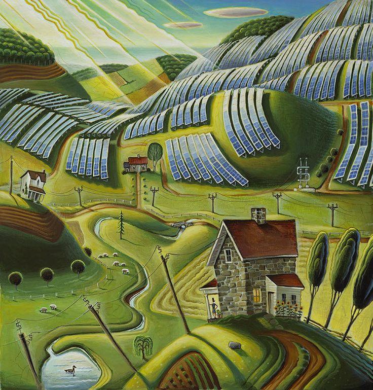 Solar Farms illustration by Tim Zeltner. Represented by i2i Art Inc. #i2iart