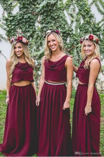 7a8410c4cb Burgundy Bridesmaid Dresses Two Pieces Country Style Navy Blue Beach Custom  Made Junior Wedding Party Guest Gown Maid of Honor Dress Cheap