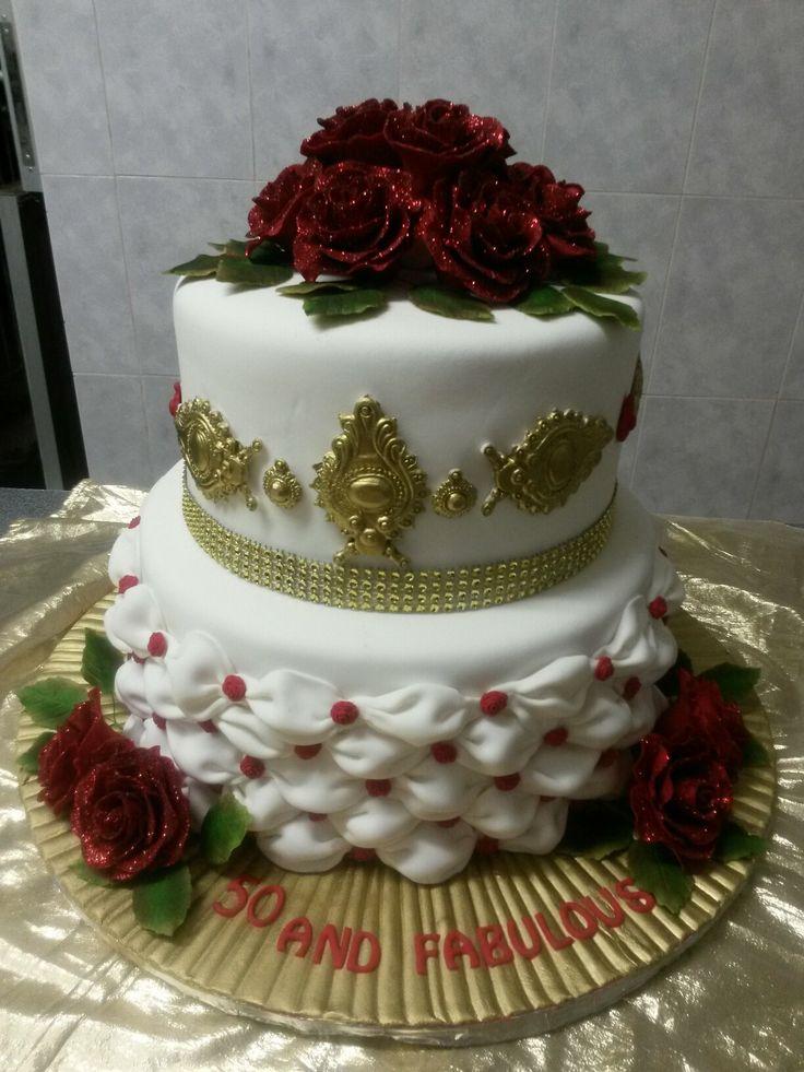 Red n gold birthday  cake