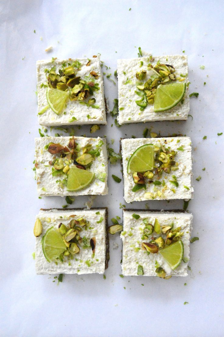 delicious-designs: Raw Pistachio, Coconut & Lime Cheesecakes (via http://www.lifeofgoodness.com.au)