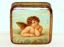 Superb German Cupid Angel Biscuit Sample Candy Tin 1910