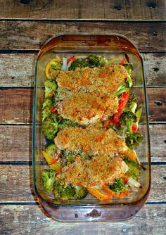 Hummus Crusted Chicken and roasted vegetables is a tasty one pan meal.
