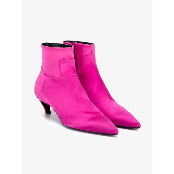 BALENCIAGA Silk Ankle Boots (£455) ❤ liked on Polyvore featuring shoes, boots, ankle booties, pointed toe ankle boots, low ankle boots, pointed toe bootie, low booties and platform ankle boots