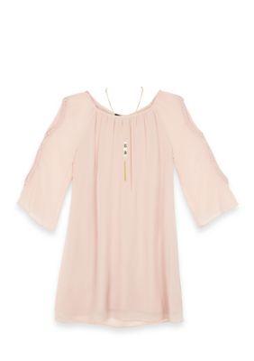 Amy Byer Girls 7-16 Long Sleeve Shift Crochet Sleeve Dress - Rose Pink - 10