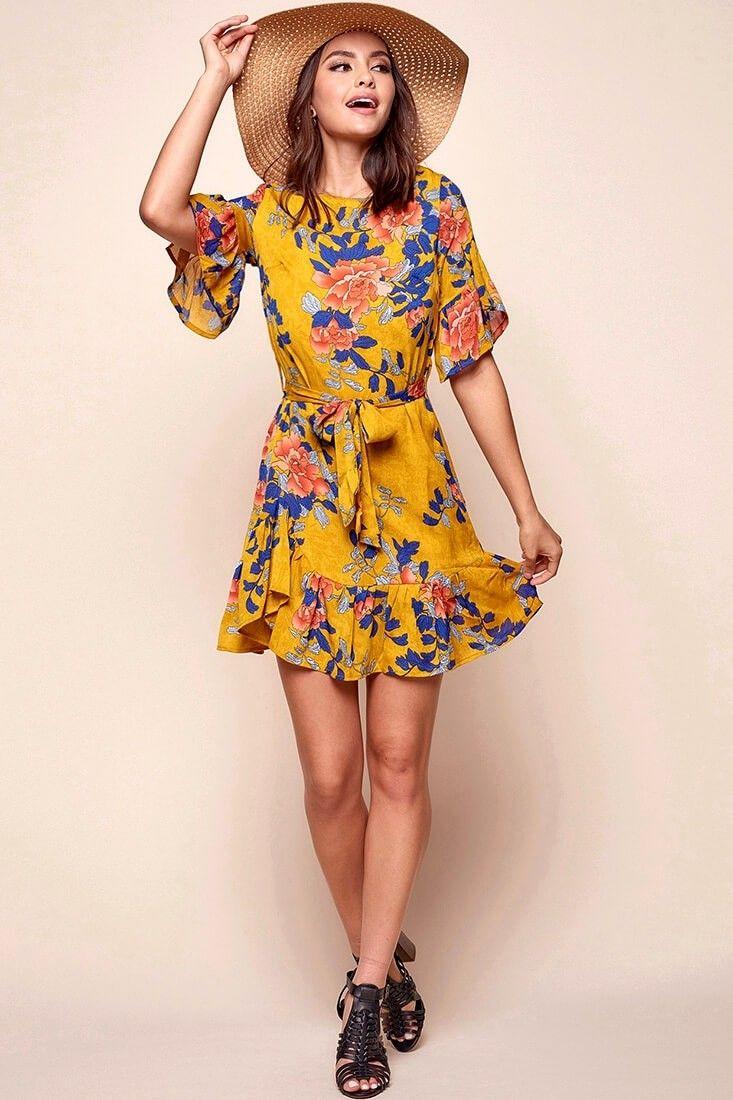 bdfad9c965 Azealia Floral Wrap Dress Mustard