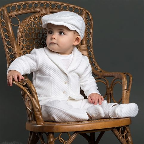 A soft white quilted Christening outfit for boys | Boys Baptism Outfits