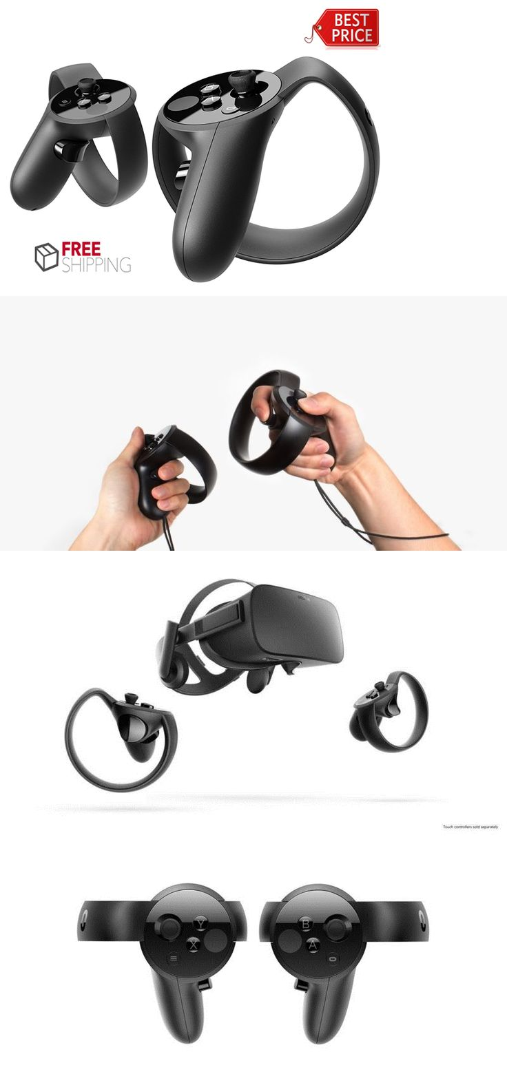 Controllers and Motion Sensors: Black Oculus Touch Controllers For Oculus Rift Rift Vr Virtual Reality New -> BUY IT NOW ONLY: $130.54 on eBay!