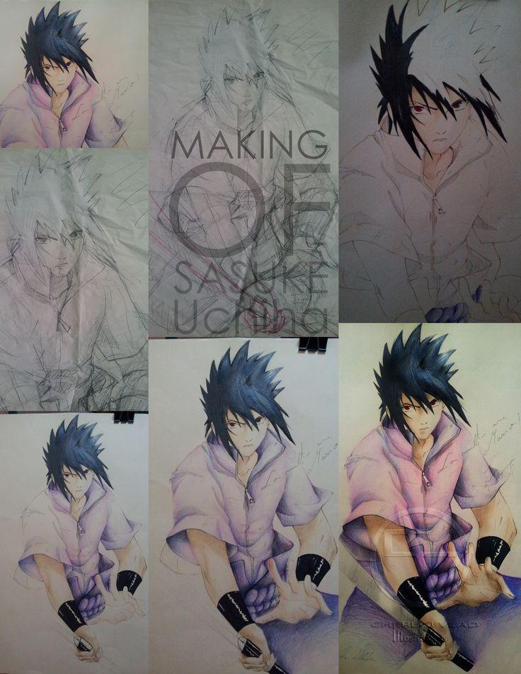 Colouring steps of Sasuke Uchiha #gift #Naruto #NarutoShippuden #SasukeUchiha #Anime