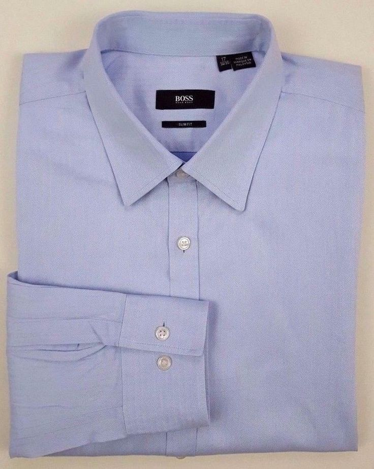 "HUGO Boss HERRINGBONE Shirt 17 34/35 BLUE Cotton MENS Slim FIT ""Max"" Style SIZE* #HUGOBOSS"