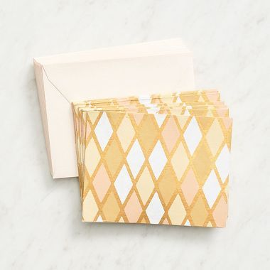 Add some sophistication to your correspondence collection with this unique white geo fine paper note set. Hand-crafted in India using recycled materials from the garment industry. 10 fold over cards p