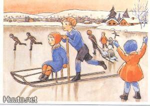 Rudolf Koivu - Poika työntää kelkkaa, tyttö kyydissä