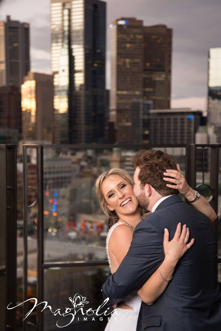 city view, Melbourne skyline, bride and groom,