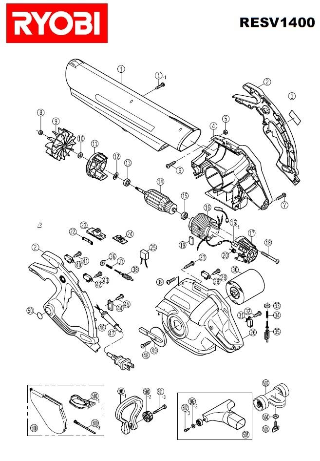 Ryobi RESV 1400 Spares Parts DIAGRAMS Schematics 1400W