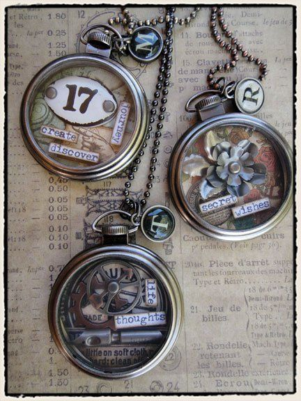Idea-ology pocketwatch - http://www.scrapbook.com/gallery/source/53/532105/wearables.jpg: Tim Holtz Pockets Watches, Tim Holtz Ideas, Pocketwatch Necklaces, Cases Necklaces, Cool Watches, La Tim, Pockets Watches Necklaces, Watches Cases, Cute Necklace