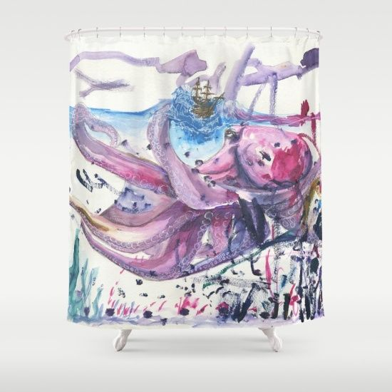 Sea Monster Octopus Shower Curtain Collaborations with my Toddler by EVE and Ruth Oosterman