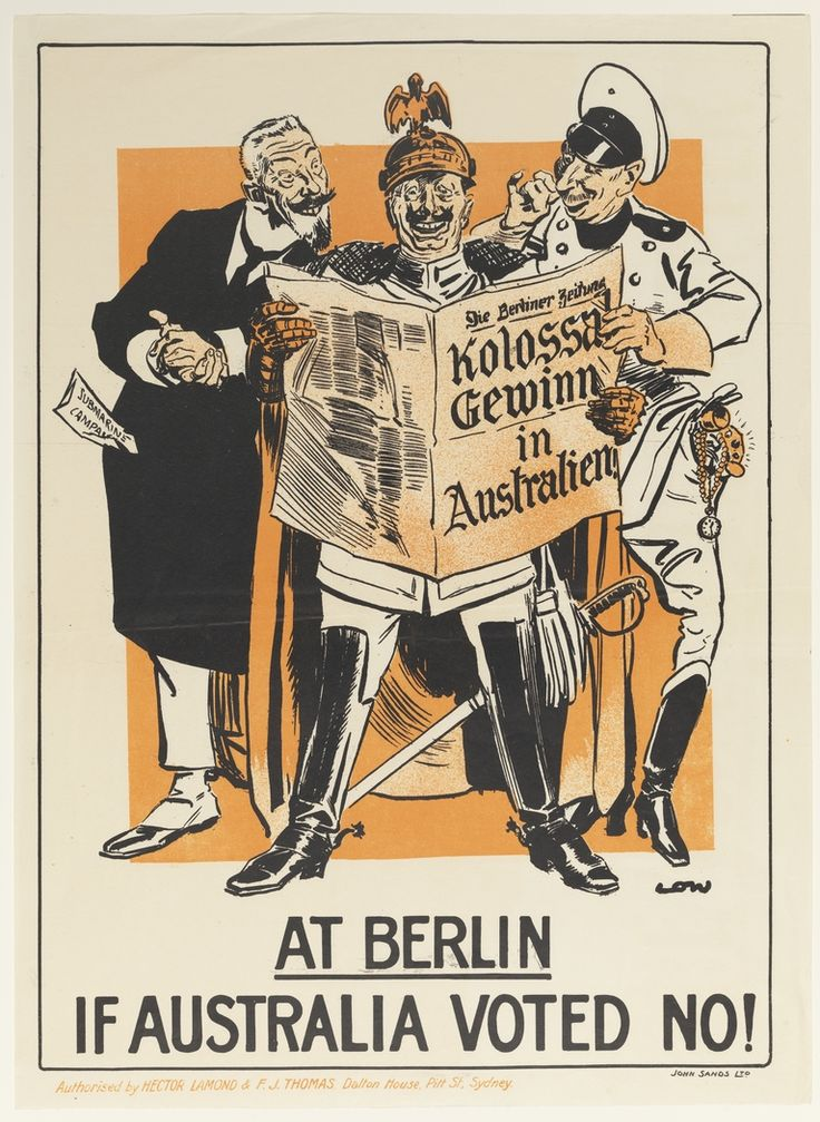 At Berlin if Australia voted no! / WWI enlistment poster from the collection of the State Library of NSW. To order an archival print of this image call the Library Shop on 61 2 9273 1611 quoting order number a8565001.