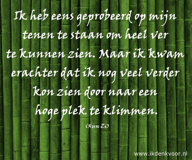 """Quote: """"Ik heb eens geprobeerd op mijn tenen te staan om heel ver te kunnen zien. Maar ik kwam erachter dat ik nog veel verder kon zien door naar een hoge plek te klimmen."""" (Xun Zi) www.ikdenkvoor.nl"""