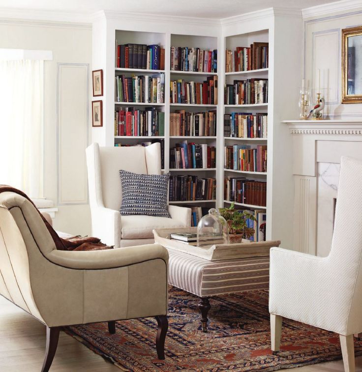 Corner Bookcases Fireplace Light Coloured Comfy Chairs 3