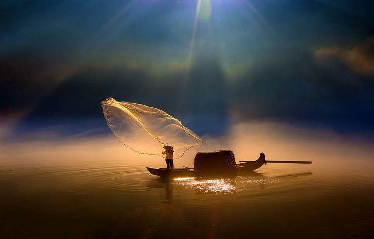 Rete scintillante di un pescatore