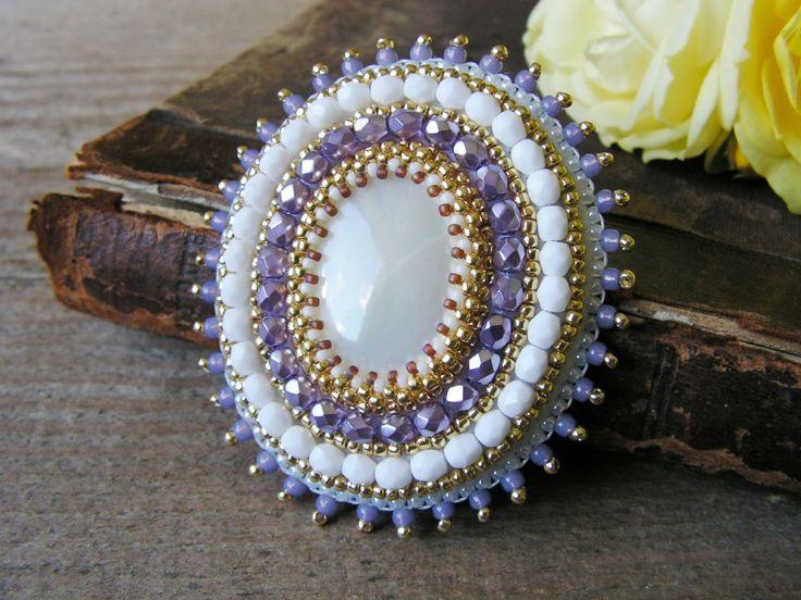 SALE White Purple Brooch Bead embroidery Brooch от MisPearlBerry