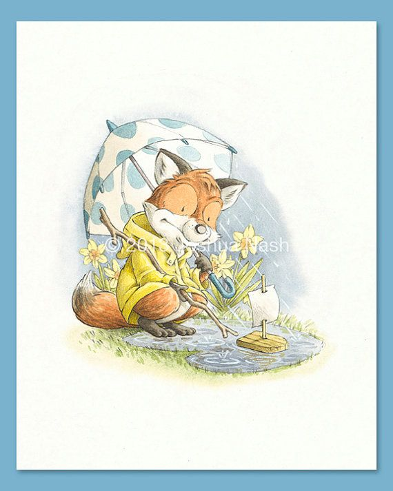 A Fox for all Seasons  A Fox in Spring 8 x 10 by NashIllustrations, $35.00