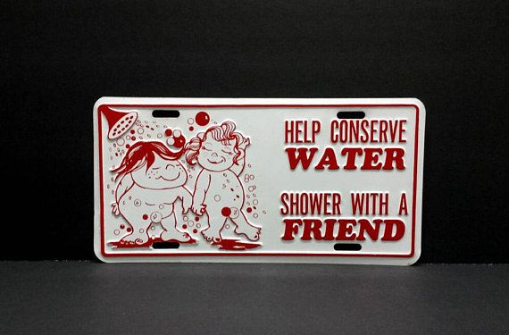 Help Conserve Water Shower With A Friend 70s Funny Novelty