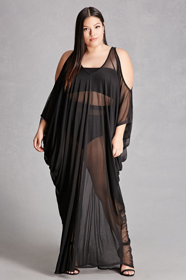 Fashion look from january 2013 featuring see through dress mesh - Forever 21 A Sheer Mesh Knit Maxi Dress Featuring A V Neckline