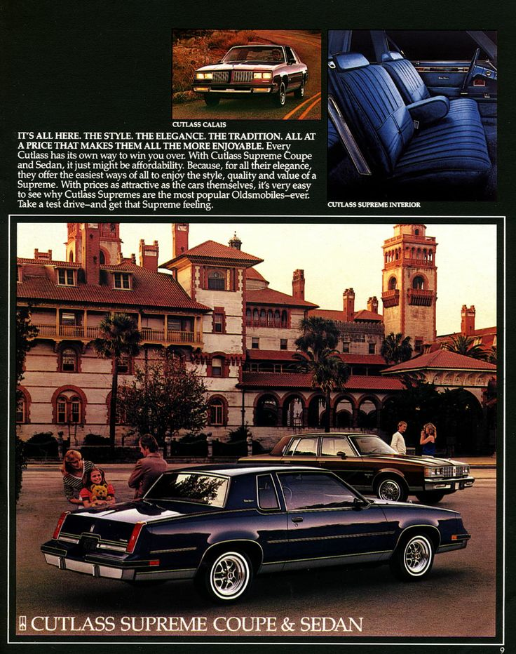 1984 Oldsmobile sales literature featuring the Cutlass Supreme Coupe and Sedan.