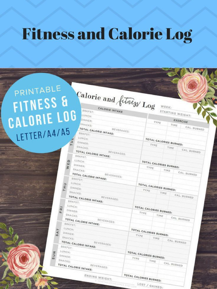 Etsy - Fitness and Calorie Tracker: Health and Fitness Planner, A5, A4, Letter Size, Weight Loss, Food Log, Weekly Diet Journal, PRINTABLE #ad#fitnesstracker