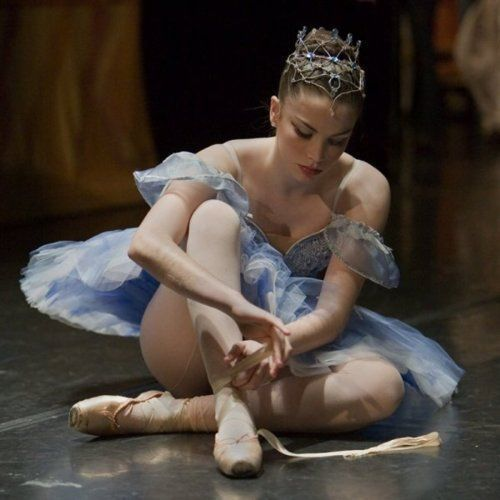 seamed tights, a tiara, a tutu, and putting on Pointe shoes! <3